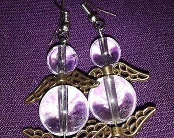 Earrings Angels rock crystal