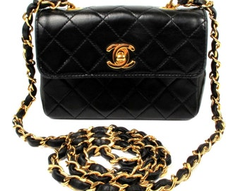 CHANEL Black Leather Mini Flap Bag - Quilted Shoulder Gold Chain CC Handbag