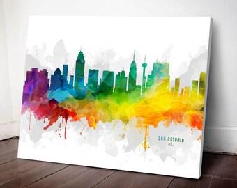 San Antonio Skyline Canvas, San Antonio Print, San Antonio Art, San Antonio Gift, San Antonio Cityscape, MMR-USTXSA05C