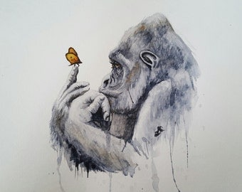 Gorilla Watercolor Print
