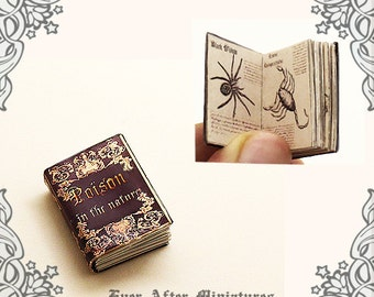 Poison in the Nature Dollhouse Miniature Book – 12th Scale OPENABLE Miniature Book with Poisonous Insect Reptile Plants - Printable DOWNLOAD