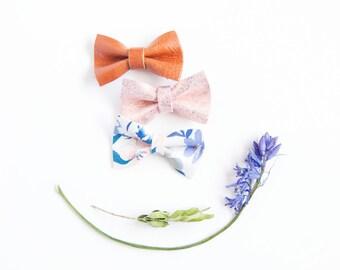 Newborn Nylon Headband, Micro Mini Leather Hair Bow Saddle Brown, Blue Floral, & Blush Pink Glitter, Glitter Bow, Baby Bow, Tiny Little Bow
