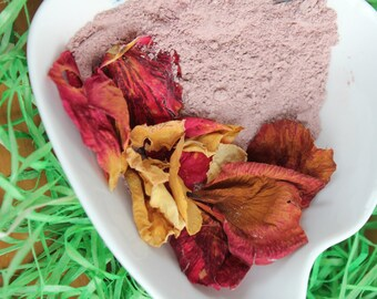Pink clay mask with powder  damask rose French pink clay mask Mineral mask Damask rose mask Rose mask Floral mask Clay mask