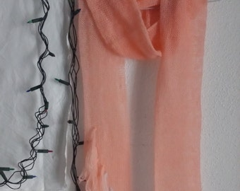 Salmon Длинный шарф лосось с бахромой цвета fringed long scarf