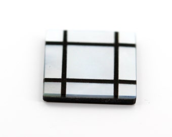 14mm Flat Square Loose Mother of Pearl Stone With Onyx Inlay