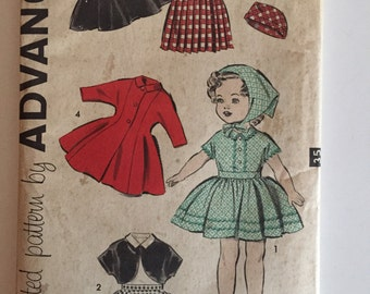Vintage doll wardrobe sewing pattern