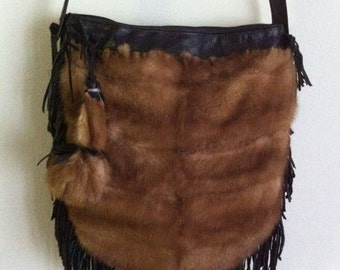 Crossbody bag, real mink fur handbag, from fur, leather and leather fringe, unique handmade bag, brown color, size - medium