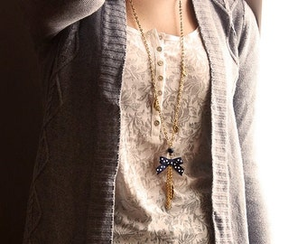 Necklace gold loop with blue dots