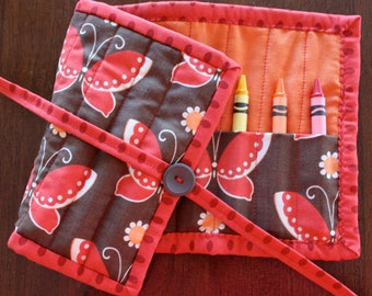 Butterfly Crayon Roll Up, Girl Crayon Holder, Crayon Tote, Freebird, Red, Brown, Orange, Art Supplies, Crayon Roll, Handmade, Quilted