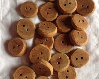 Buttons made of cherry wood, wooden buttons