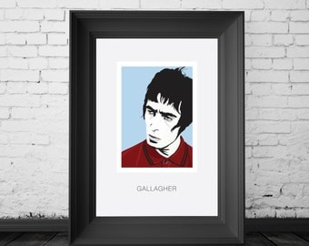 Liam Gallagher, Oasis and Beady Eye front man, Singer and Britpop legend. A4,A3 and A2 Hand and Digitally Drawn Poster. By Mike Moran