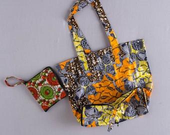 Foldable Compact Tote Bag Ankara African Print Dutch Wax Fabric Market Bag Shoulder Bag