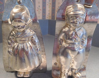 Dutch Boy and Girl #4208/69 and #4209/1 Vintage Metal Candy Molds