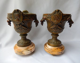 Old Pair of Cassolettes with Royal Effigy