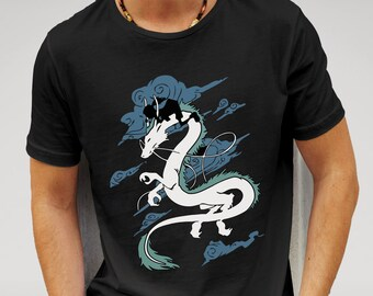 Men's Black Spirited Away Dragon T-shirt  Features print of Chihiro and Haku inspired by the popular studio Ghibli film Spirited Away