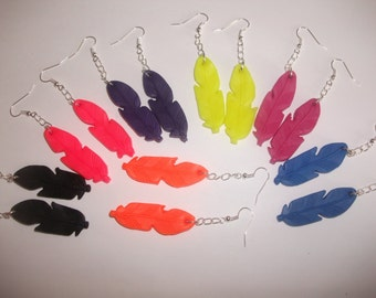 Earrings feather fimo