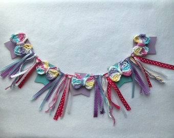 Pastel bow banner/ crocheted bow banner/ ribbon banner