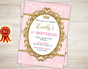 Princess Party Invitation. Pink Gold Princess Invitation. Printable Royal Princess Birthday Party Invite. Gold Glitter Girl First Birthday