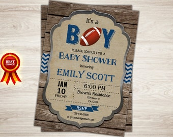Rustic Football baby shower invitation. It's a boy, Blue Chevron Rugby sports theme rustic wood couples baby shower printable invite