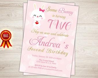Printable Bunny Birthday Invitation. Easter Birthday Invitation. Some Bunny Invite. First Birthday Invite. Girl 1st Birthday Photo Invite