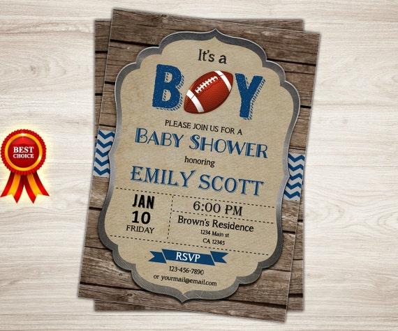 Rustic Football Baby Shower Invitation. It's A Boy Blue