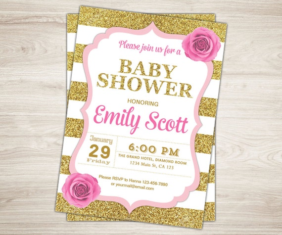 pink and gold baby shower invitation girl gold glitter baby shower