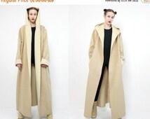 WeekendSale 20OFF vtg 80s 90s ivory beige WOOL  minimalist futuristic structural hooded cape coat S M  L