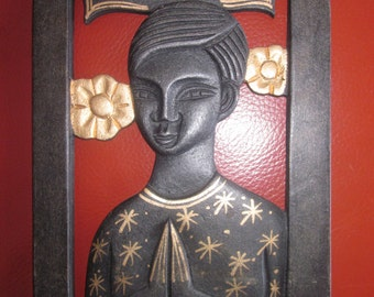 African Art Wall Hanging Praying Child / Woman in Black and Gold