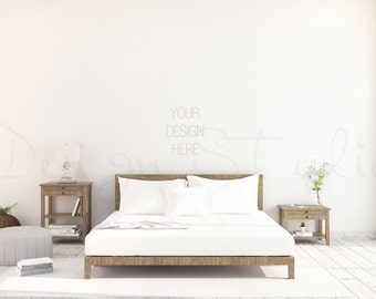 Styled Stock Photography Bedroom Blank Wall Scandinavian Interior Poster Mockup Print Background