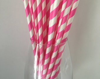 Hot Pink Striped Straws, Hot Pink Paper Straws Pink Straws Drinking Straws Wedding Straws Party Straws Birthday Party Straws, Baby Shower