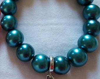 Turquoise beaded believe bracelet