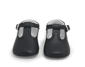 Baby moccs Dark blue leather T Strap pepito baby shoes,strap shoe, baby shoes, t-strap,Infant Booties