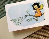 Flower Fairy Girl gift enclosure card with envelope  Girl Fairy mini card for birthday or baby shower love