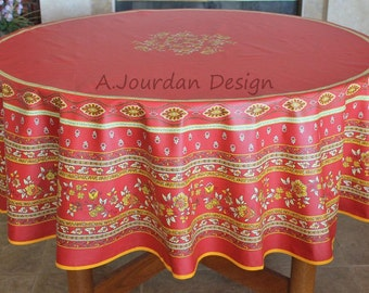 French Tablecloth MARAT AVIGNON RED Round Acrylic Coated Stain Proof - French Oilcloth Tablecloths - Matching cotton napkins available