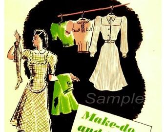 Vintage Make do and Mend War Poster Print