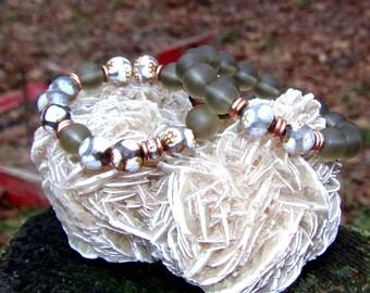 Women Cracked Brown & Grey Agate Bead Grounding Bracelet Set Jewelry Healing Balancing Gemstones Designer Yoga Boho Trendy Sexy