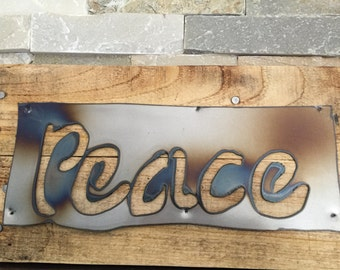 PEACE Rustic Sign...Wall Art...Reclaimed Wood...Steel Sign...Wall Hanging..Motivational..Handmade...Customize Your order