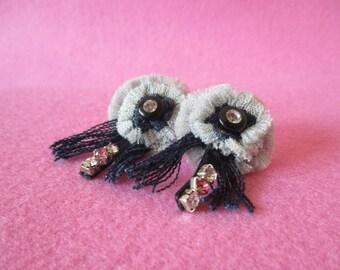 Handmade denim jeans earrings