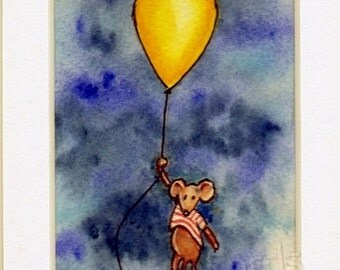 Birthday Card - hand painted, not a print. Balloon Critter Mouse. Yellow.