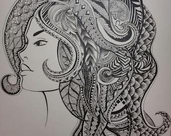 Zentangle female portrait- Giclee print