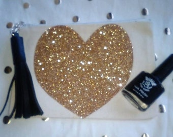 Heart Glitter Cosmetic Makeup Bag