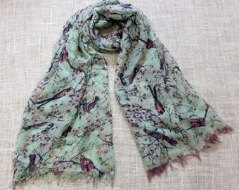 Mint Bird Fringed Fashion  Scarf Green