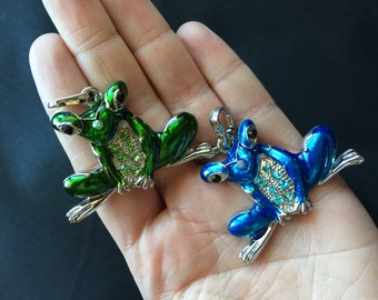 Blue or Green Frog Pendant