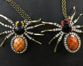 Faceted Stone and Rhinestone Tarantula Spider Pendant