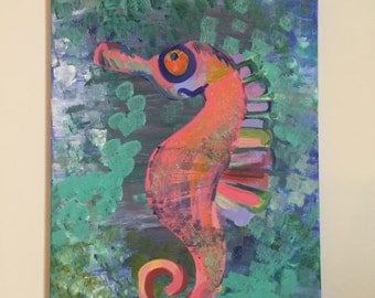 Colorful Seahorse in Speckled Sea Acrylic Painting