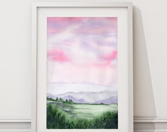 Landscape Art Print from Original Watercolor Painting. Wall Art. Watercolor Painting.