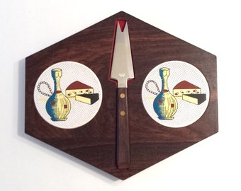 Vintage Cheese Tray with Unique Knife - made in Japan - Wood with Ceramic Inlay