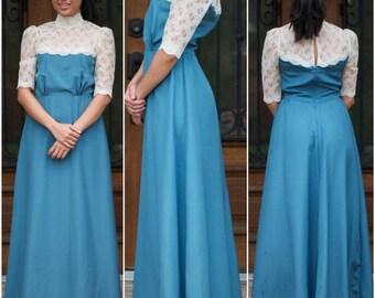 delicate white lace blue dress