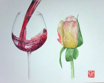 Giclee print of a wine and a rose