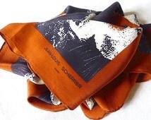 Luxury Vintage Silk Scarf, Jean Louis Scherrer Paris, Vintage 70's, Brown Black White Flowers, Free Shipping